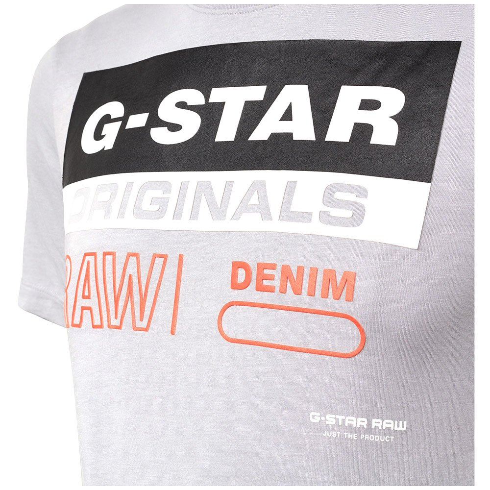 G-STAR ORIGINALS LABEL LOGO SLIM RIBBED T-SHIRTS HERRENKLEIDUNG GRAU T-SHIRTS