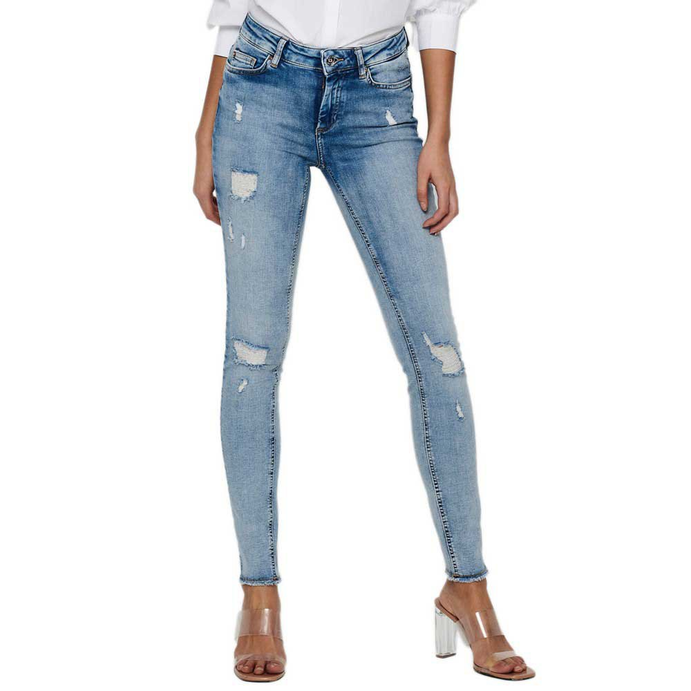 Only Blush Life Mid Waist Skinny Raw Ankle DT Jeans