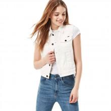 G-star 3301 Moto Cropped Denim Inza White Stretch Denim
