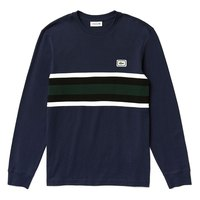 Lacoste Crew Neck Badge Striped Cotton